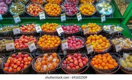 BANGKOK, THAILAND - AUGUST 06: Big C Supermarket displays Apples and Oranges for sale on August 06, 2017 in Bangkok.