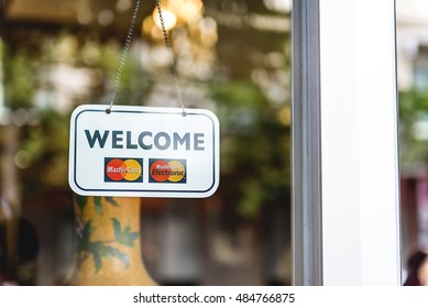 Bangkok, Thailand - August 06,2016 : MasterCard, MasterCard Electronic welcome board in front of restaurant.