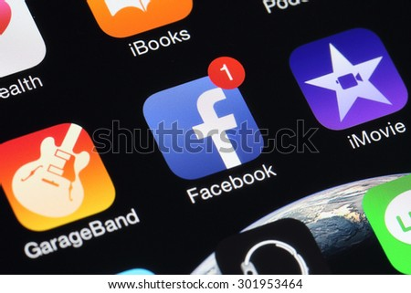 BANGKOK, THAILAND -AUGUST 1, 2015: Facebook Icon on IPhone in August 1,2015 .Facebook is the biggset  online social networking service in the world
