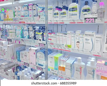 Bangkok, Thailand - August 1, 2017: Shelf of consumer goods, products, facial treatment at Watsons personal care store. Watsons is a famous health store in Thailand.