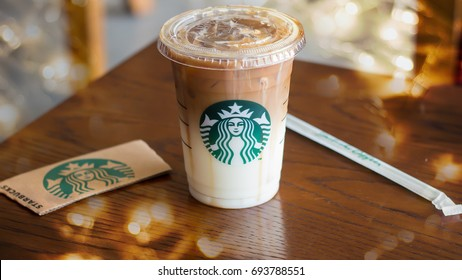 Bangkok, Thailand - August 10, 2017: Starbucks sign, Iced Caramel Macchiato. This branch is located in BEEHIVE Lifestyle Mall, Nonthaburi, TH