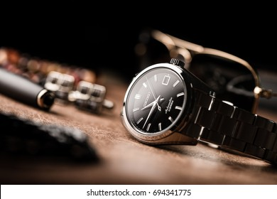 BANGKOK, THAILAND - AUGUST 10, 2017: The SEIKO SARB033 with Seiko Automatic 6R15 movement. The SARB033 is a Japanese Domestic Market watch model.