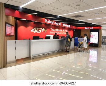 BANGKOK THAILAND - AUGUST 10: Truemove store at airport branch, large mobile network operator in Thailand on August 10, 2017 in Bangkok, Thailand