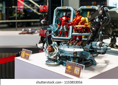 Bangkok, Thailand - August 11, 2018. - Ironman Model Display at The marvel experience superstore in Bangkok Thailand.  The marvel experience Thailand superstore is a retail store for Marvel Fan.