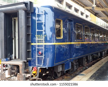 BANGKOK, THAILAND - AUGUST 11, 2018: View of s blue and gold SRT prestige passenger car at Hua Lamphong train station on August, 11, 2018 in Bangkok, Thailand.