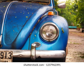 BANGKOK, THAILAND - AUGUST 11, 2018: Vintage car Volkswagen Beetle (Volkswagen Bug) on the street, Volkswagen Beetle, Retro car.