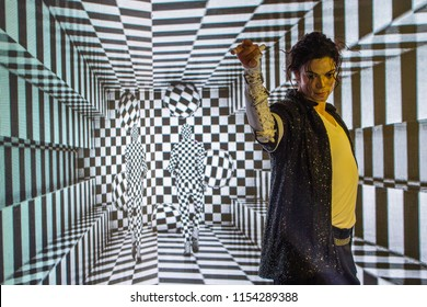 Bangkok - Thailand - August 11,2018: A waxwork of Michael Jackson on display at Madame Tussauds, of numerous celebrities. at Siam Discovery, in Bangkok Thailand.  Madame Tussauds wax museum.