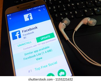 Bangkok, Thailand. August 12, 2018 - facebook application on smartphone screen closed up. facebook app is a popular social networking app.