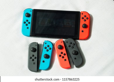 Bangkok, Thailand - August 12, 2018 :The Nintendo Switch with Joy Controller.