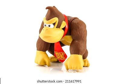 Bangkok, Thailand - August 13, 2014 : Donkey Kong figure character from Super Mario video game console developed by Nintendo EAD.