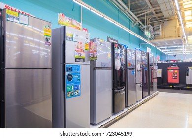 Bangkok, Thailand - August 13, 2017: Row of Refrigerator Display in Hypermarket store. Thailand is one of the leading Manufacturer of refrigerator in the Asian region.
