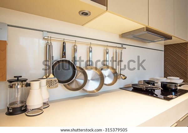 BANGKOK, THAILAND - August 13 : Kitchen interior design at the perfect home for a new family. on August 13, 2015 in Bangkok, Thailand