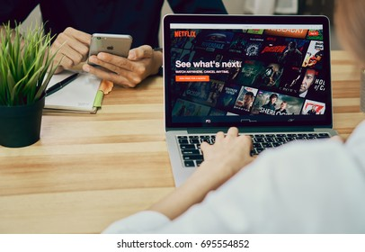 Bangkok, Thailand - August 14, 2017 : Netflix app on Laptop screen. Netflix is an international leading subscription service for watching TV episodes and movies.