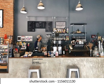 Bangkok, Thailand - August 14, 2018: Awake Awhile Espresso serves fresh roasted coffee and homemade bakery. The coffee bar decors in retro style with black coffee equipments.