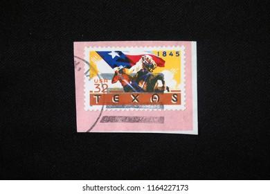 BANGKOK, THAILAND -AUGUST 14, 2018: Vintage US postage stamp shows Texas statehood in 1845