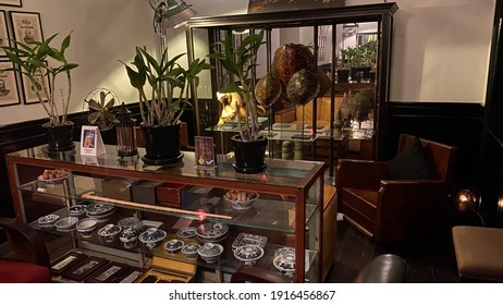 Bangkok, Thailand - August 15 2020: Interior lounge of Cabochon Hotel in Bangkok