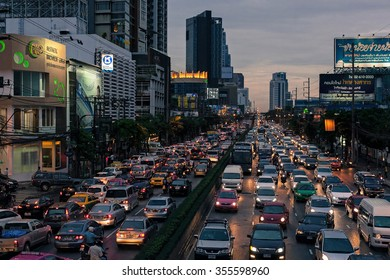 Bangkok, Thailand - August 16, 2012: On the road Rama IV Road, rows of cars are stopped in traffic in both directions of travel.