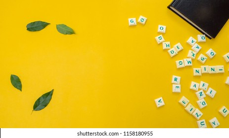 Bangkok, thailand, August 16, 2018: scrabble game tiles on yellow background