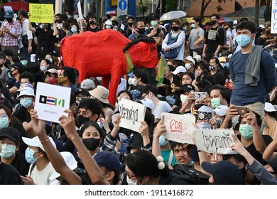Bangkok, Thailand - August 16, 2020:  Thailand anti-government protest at the Democracy Monument.