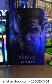 Bangkok, Thailand - August 17, 2018: Standee of Movie VENOM (Black Danger Enemy Creature from Spiderman Movie) display at the theater