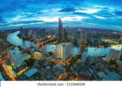 BANGKOK, THAILAND - AUGUST 18, 2015: Panoramic view over Bangkok skyline from the Scirocco Sky Bar over the Lebua Hotel at night time.
