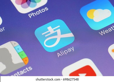 BANGKOK, THAILAND -AUGUST 18, 2017:Alipay Icon on IPhone screen on August 18,2017