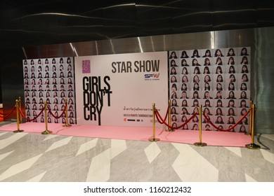 Bangkok, Thailand - August 18, 2018: Standee of Thai Teenage Girl Group BNK48 Documentary Girl Don't Cry displays at the theater. BNK48 a Thai sister girl group of Japanese AKB48.