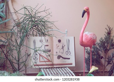 Bangkok, Thailand - August 18, 2018 : Interior decoration of flamingo, text book and tree in the cafe