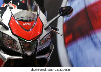 Bangkok, THAILAND - August 18 , 2019:  Aprilia RSV4 RF front of motorcycle  Designed for racers Build for the driver show in event Big Motor Sale