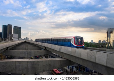 BANGKOK, THAILAND - August 18: BTS north line will terminate at Ladprao junction station. on August 18, 2019 in Bangkok, Thailand. Skytrain runs on rail during a running by operators.