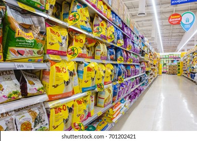 BANGKOK, THAILAND - AUGUST 19, 2017: Various of Cat Food Products on shelf at Tesco Lotus Sukhapiban 1, Bangkok Thailand. Tesco Lotus is a hypermarket chain in Thailand