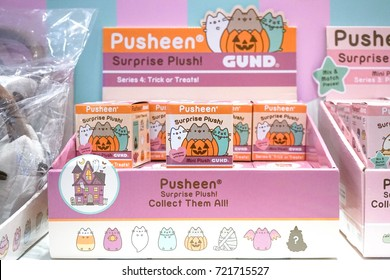 Bangkok, Thailand - August 19, 2017 : A photo of Pusheen the cat surprise box series 4 : trick or treats (to welcome Halloween event), displayed at Siam Paragon, Bangkok, Thailand. Editorial use only.