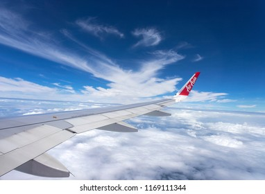 Bangkok, Thailand - August 19, 2018 : Airbus 320 airasia, Thailand low-cost airline. View from the plane window by. airasia airline