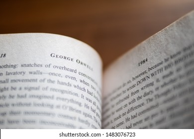 "Bangkok, Thailand - August 19, 2019 : Inside of ""1984"" novel by George Orwell."