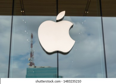 Bangkok, Thailand - AUGUST 19, 2019: Apple Store Logo on The glass of Apple Store in iconsiam department store.