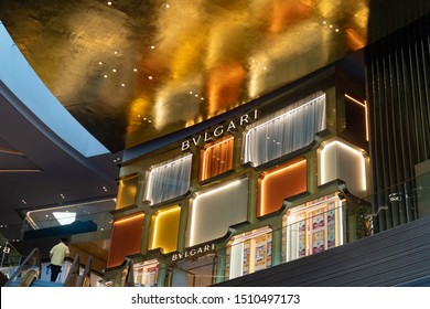 BANGKOK, THAILAND - AUGUST 19, 2019: BVLGARI fashion store in BANGKOK ICON SIAM Shopping Mall, Bangkok. Bvlgari is an Italian jewelry and luxury goods brand.