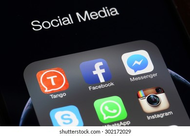 BANGKOK, THAILAND -AUGUST 2, 2015: Social Media Applications Icon on IPhone screen on August 2,2015