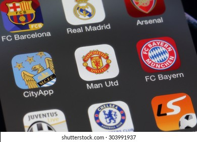 BANGKOK, THAILAND -AUGUST 2, 2015: Manchester United Icon on IPhone screen on August 2,2015