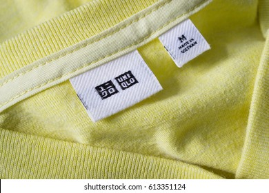 Bangkok, Thailand - August 2, 2017 : Label tag on Uniqlo shirt shows that the item is made in Vietnam.