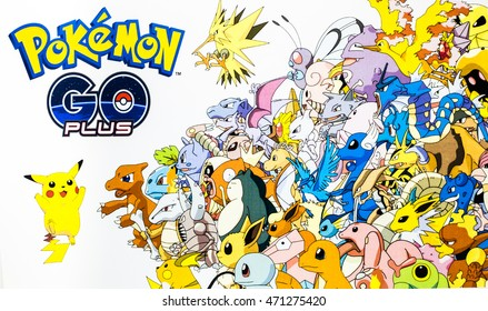 Bangkok, Thailand - August 20, 2016: Pokemon Go logo with many Pokemons on paper. Pokemon Go is a free-to-play augmented reality mobile game developed by Niantic for iOS and Android devices.