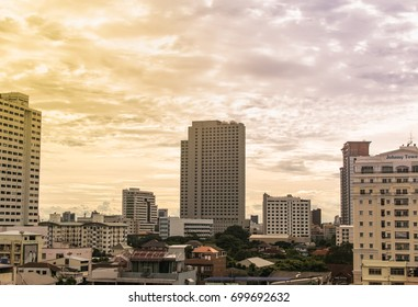 Bangkok, Thailand - August 20, 2017: Last rainy day in spring season before autumn coming. It is landmark city with beautiful cloud scape and sunset.