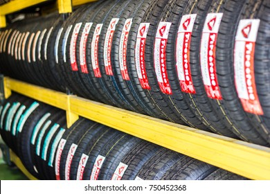 Bangkok Thailand:- August 20: 2017 - Tire Firestone shop Tire replacement service center In the checking center change old tires into new tires.