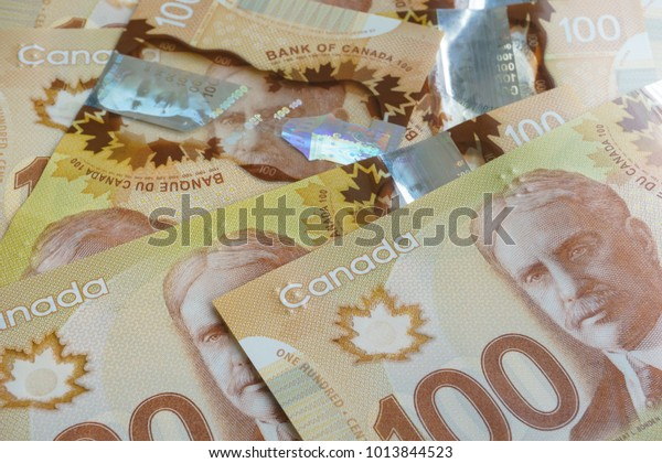 Bangkok, Thailand - August 20, 2017: Picture close up of Canadian banknotes.
