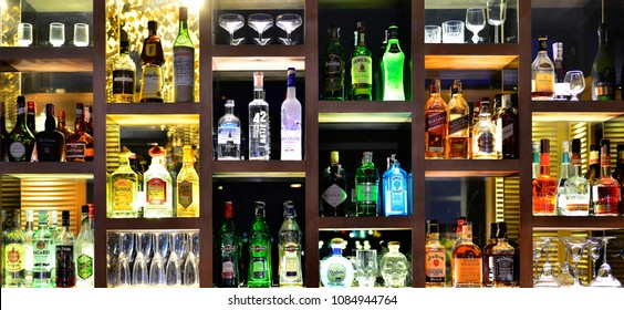 BANGKOK - THAILAND AUGUST 20, 2017:Bottles of spirits and liquor at The 342 Bar on AUGUST 20, 2017 Baan Wanglang Riverside Hotel
