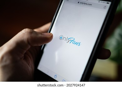 Bangkok, Thailand - August 20, 2021 :A mobile user browsing Only Fans website.