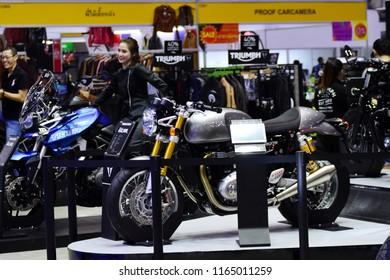 Bangkok, Thailand - August 25, 2018: Triumph motorcycle booth in Big Motor Sale 2018, bangkok, Thailand.