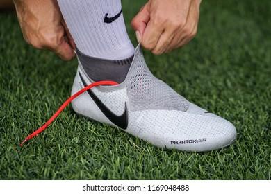 08e38a5c9552 Bangkok / Thailand - August 2018 : Football player wearing Nike Phantom  Vision, new football