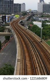 Bangkok, Thailand - August, 2018 Rail way of electrical sky train along Sukhumvit Road, Bangkok , Thailand