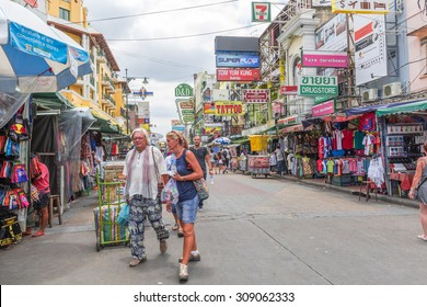 BANGKOK, THAILAND - August 21, 2015: Unidentified tourists walk along Khao San Road area where lots of budget hotels and guesthouses are located.