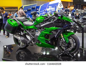 Bangkok, Thailand - August 22, 2018: Kawasaki Ninja H2 SX sport touring motorcycle presented in Big Motor Sale 2018